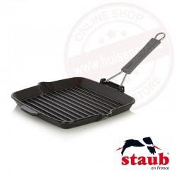 Staub grillpan vierkant 24x24cm met gesiliconeerd handvat