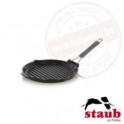 Staub grillpan rond ø27cm met gesiliconeerd handvat