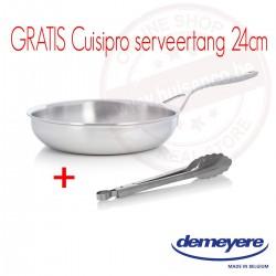 Bakpan 7-ply multiline 28cm - met dichtgelegde rand + gratis Cuisipro rvs serveertang 24cm